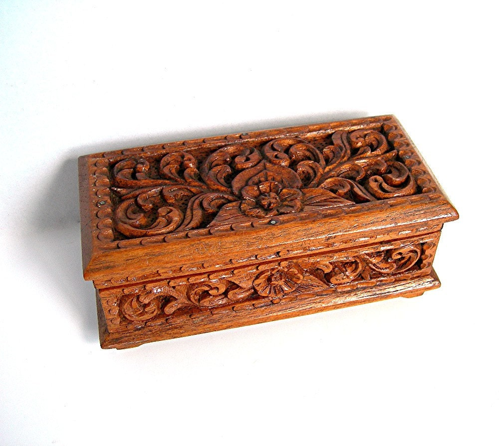 vintage wood jewelry box carved floral