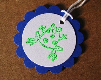 Froggy Scalloped Triple Mounted Tags - set of 3