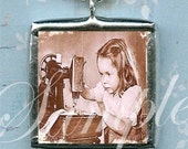 SEWING is CHEAPER THaN THERAPY pendant NeCKLACE altered art CHaRM soldered glass double sided