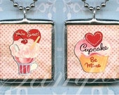 RETRO VALENTINE soldered pendant ALTEReD ART necklace CHaRM CUPCAKe VALENTINeS DaY