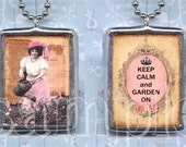 KEEP CALM and GARDEN oN soldered glass PeNDANT NECKLACe CHaRM altered art collage DoUBLE SIDeD roses