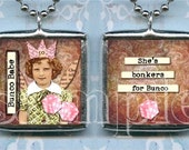 BUNCO BABE soldered GLaSS pendant ALTEReD ArT charm NECKLACe double sided SHE'S BONKeRS for BUNCo