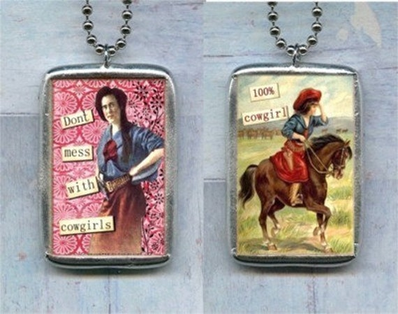 COWGIRL soldered pendant NECKLACE altered art CHARM