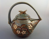 Teapot - 48 oz. - Cherry Blossom  - Woo Blue / Handmade Wheel thrown pottery