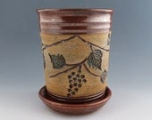 Wine Chiller with Carved Grapes on the Vine - Brick Red -Utensil Holder -  Handmade wheel thrown pottery