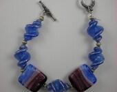 Blue Rainbow -  Murano Glass Bracelet