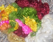Hand Dyed Cotswold Color Sampler Locks 6 ounces Doll Hair Needle Felting