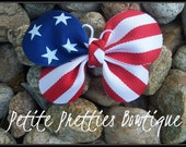 Boutique 4th of July Memorial Day Patriotic Flag Butterfly Hair Bow Clip