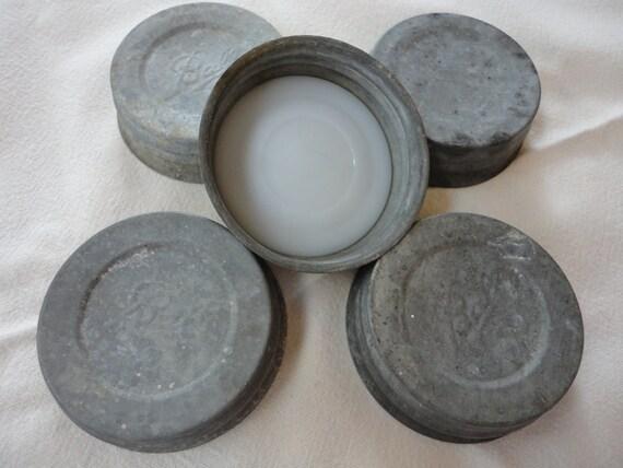 Antique Ball Mason Jar Canning Zinc lids Vintage Porcelain White Glass LOT 5