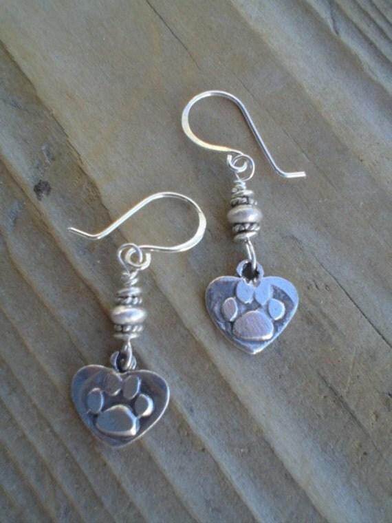 Fine Silver Dog Paw Earrings