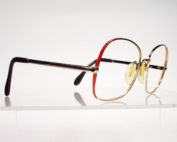Vintage 1980s ZEISS Gold with Red Large Eyeglass Frames