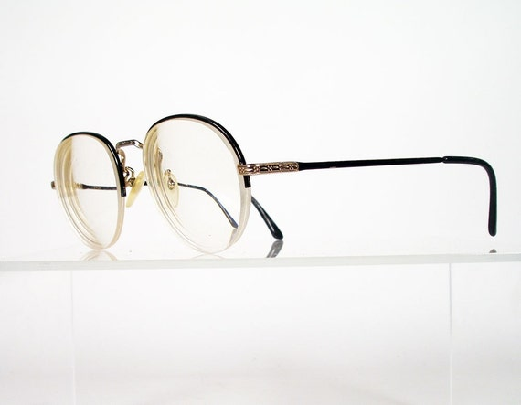 Black And Gold Eyeglass Frames : POLO Black and Gold Semi Rimless Eyeglass Frames by Chigal ...