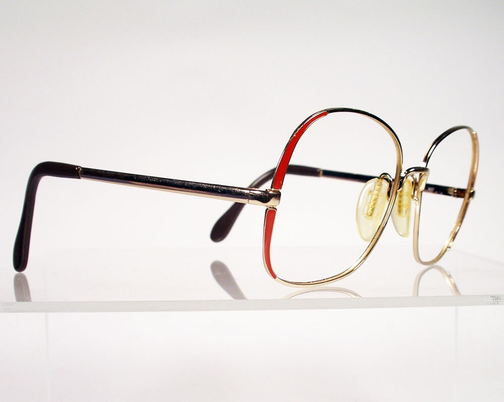 Big Red Frame Glasses : Vintage 1980s ZEISS Gold with Red Large Eyeglass Frames
