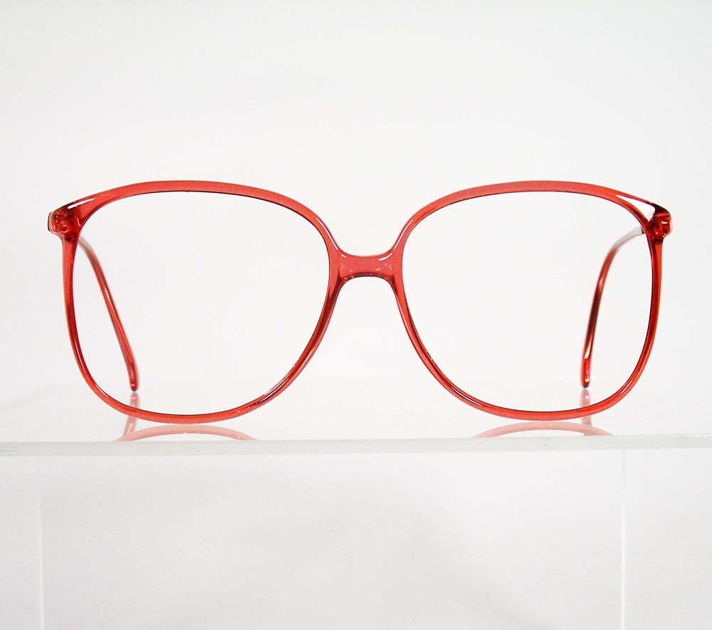 Big Red Frame Glasses : Vintage TURA Large Red Hornrim Style Eyeglass Frames