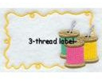 3 Thread Quilt Label machine embroidered personalized