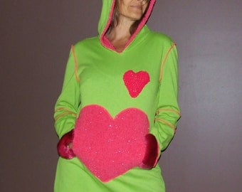 green & pink lined hoodie mini dress