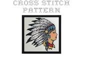 DIY Native American Girl Head Tattoo Flash - .pdf Original Cross Stitch Pattern - Instant Download
