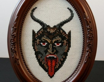Krampus - Framed Cross Stitch