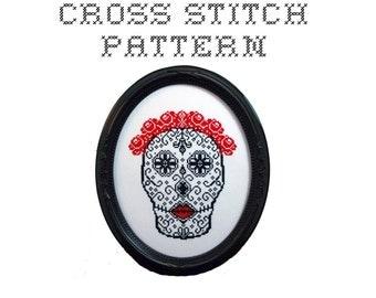 DIY Sugar Skull (version 3) - .pdf Original Cross Stitch Pattern - Instant Download