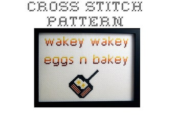 DIY Wakey Wakey Eggs n Bakey - .pdf Original Cross Stitch Pattern - Instant Download