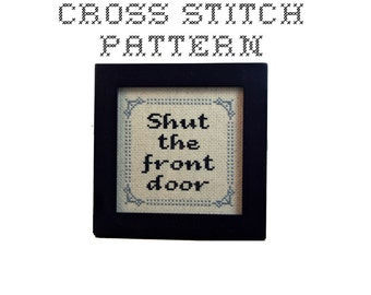 DIY Shut The Front Door - .pdf Original Cross Stitch Pattern - Instant Download