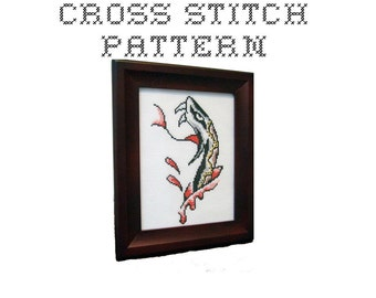 DIY Snake Tattoo Flash - .pdf Original Cross Stitch Pattern - Instant Download