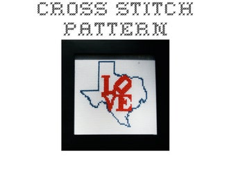 DIY LOVE Texas  - .pdf Original Cross Stitch Pattern - Instant Download