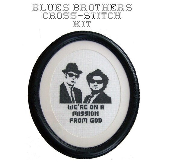 DIY Blues Brothers cross stitch KIT