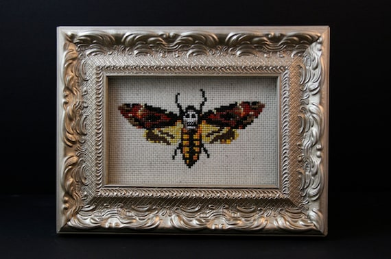 Death's Head Moth - The Silence of the Lambs - Framed Cross Stitch