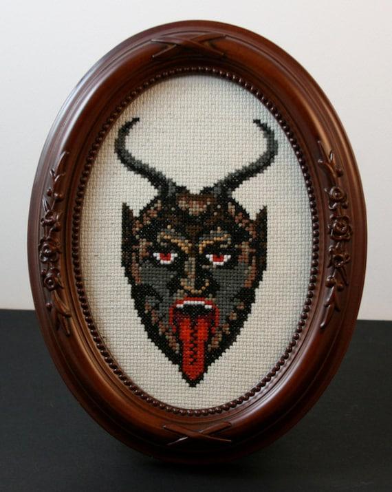 Krampus - Framed Cross Stitch
