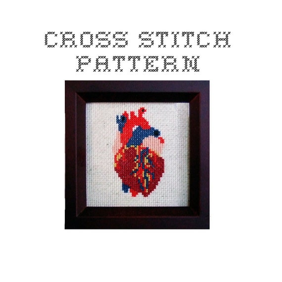 DIY Anatomical Heart - .pdf Original Cross Stitch Pattern - Instant Download