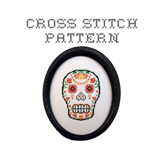 DIY Sugar Skull (version 9) - .pdf Original Cross Stitch Pattern - Instant Download