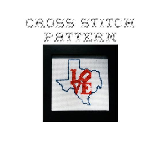 DIY LOVE Texas  - .pdf Original Cross Stitch Pattern - Instant Download