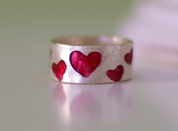 Red Heart Enamel Sterling Silver Band Ring Color Ring Valentines Jewelry