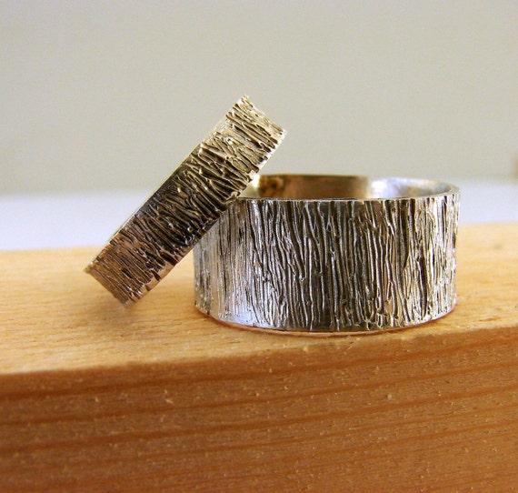 Tree Bark Sterling Silver Wedding Rings Set