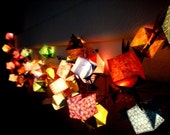 Origami patterned wing cube lantern string light Cover