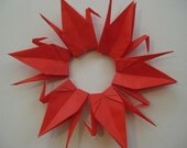 "500 Origami Cranes 6"" solid red color"