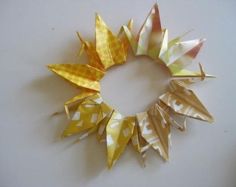 Set of 100 Origami 6 inches Cranes Multi pattern in yellow color shade