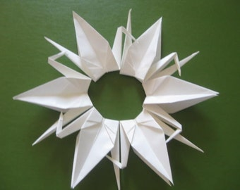 Set of 100 Origami 6 inches Cranes in white color