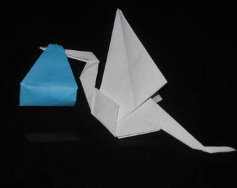set of 24 origami stork with light blue color carry sling
