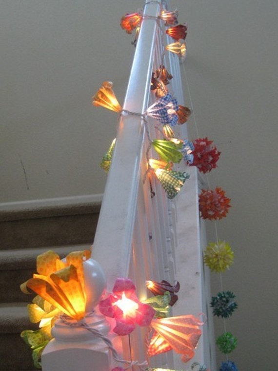 Argos Flower String Lights : Items similar to Origami flower string light lamp lantern on Etsy