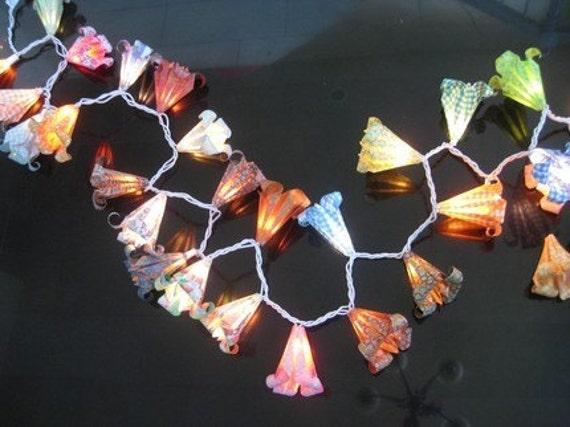 Floral Lantern String Lights : Items similar to Origami flower string light lamp lantern on Etsy