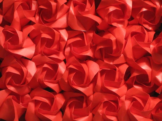 100 Origami Rose in RED colors