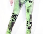Punk Army neon green riot and spray paint pegged pants
