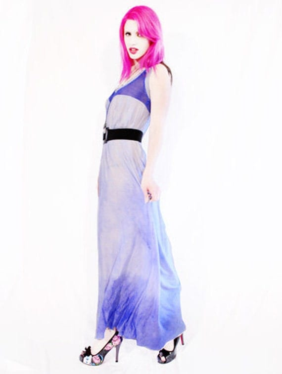 Fishnet Fashionista blue ombre clinched waist maxi dress