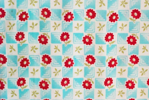 aqua bliss  bonnie & camille for  moda fabric 100% cotton quilting supply red daisy aqua gingham