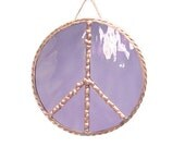 Peace Sign purple copper stained glass