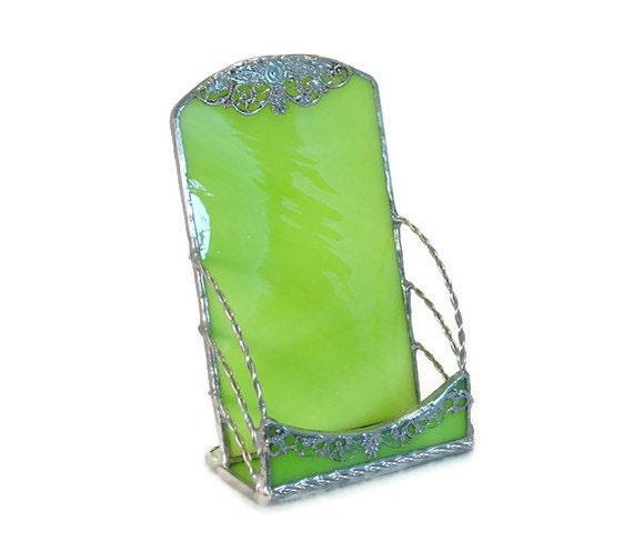 Green Vertical Business Card Holder - Kiwi Lime Silver Filigree