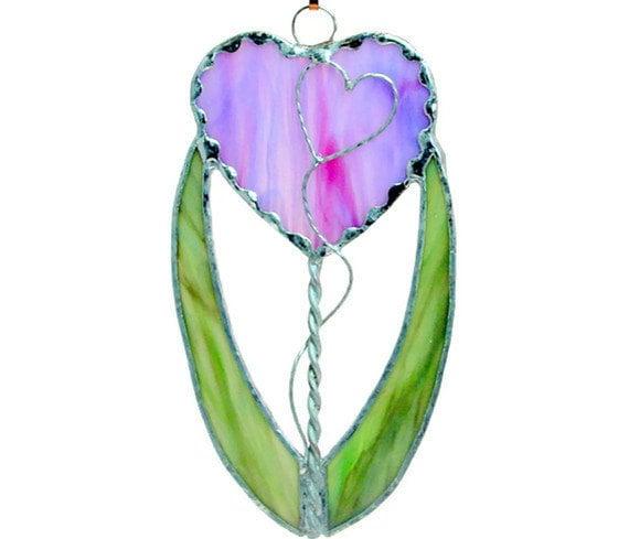 Heart Flower pink purple green stained glass suncatcher