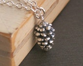 Tiny Pine Cone necklace, sterling silver necklace, pine cone charm, solid sterling silver chain, fall, autumn necklace